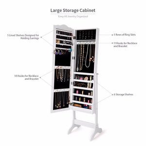 Giantex Mirrored Lockable Jewelry Cabinet Armoire Organizer Storage Box w/ Stand White Home Furniture HW60137WH