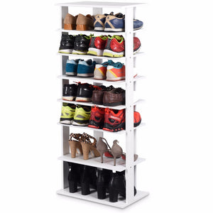 Giantex Wooden Shoes Storage Stand 7 Tiers Big Shoe Rack Organizer Multi-Shoe Rack New   Home Furniture HW57381