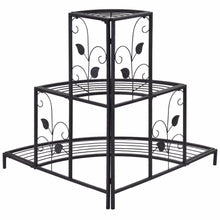 Load image into Gallery viewer, 3 Tier Floral Corner Plant Stand Metal Flower Pot Rack Stair Display Ladder  Outdoor Furniture GT3201