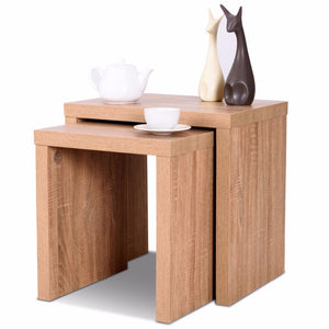 Giantex Set of 2 Nesting Coffee End Table Side Table Wood Color  Living Room Furniture HW58203