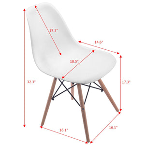 Set of 2pcs Mid Century Dining Chair Modern Wood Legs Side Chairs White Living Room Furniture HW58931WH-2