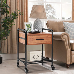 Costway 2PCS 2-Tier End Coffee Table Nightstand Sofa Side Living Room W/Drawer &Wheels