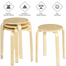 "Load image into Gallery viewer, Set of 4 18"" Stacking Stool Round Dining Chair Backless Wood Home Decor"