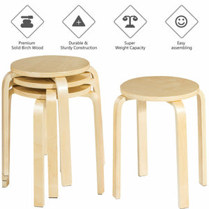 "Set of 4 18"" Stacking Stool Round Dining Chair Backless Wood Home Decor"