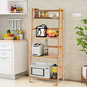 Multifunctional 4 Shelf Bamboo Bookcase Ladder Plant Flower Stand Rack Storage