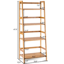 Load image into Gallery viewer, Multifunctional 4 Shelf Bamboo Bookcase Ladder Plant Flower Stand Rack Storage