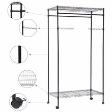 Load image into Gallery viewer, Giantex Garment Rack Double Hanging Clothes Rail Rolling Adjustable Rod Portable Wardrobe Storage Shelf Metal Coat Rack HW56493