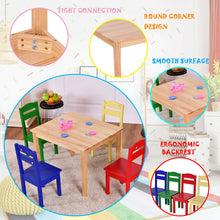 Load image into Gallery viewer, Costway Kids 5 Piece Table Chair Set Pine Wood Multicolor Children Play Room Furniture