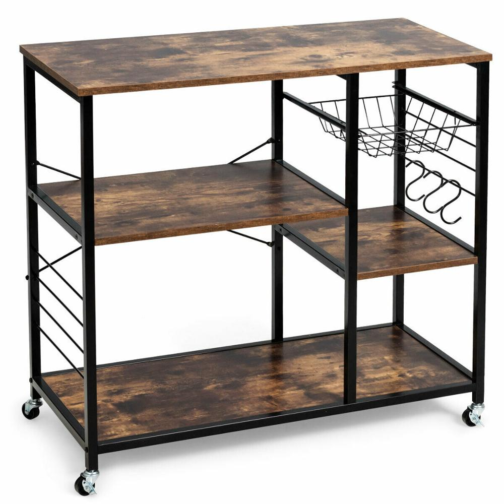 Rolling Industrial Kitchen Baker's Rack Kitchen Island Utility Storage Shelf