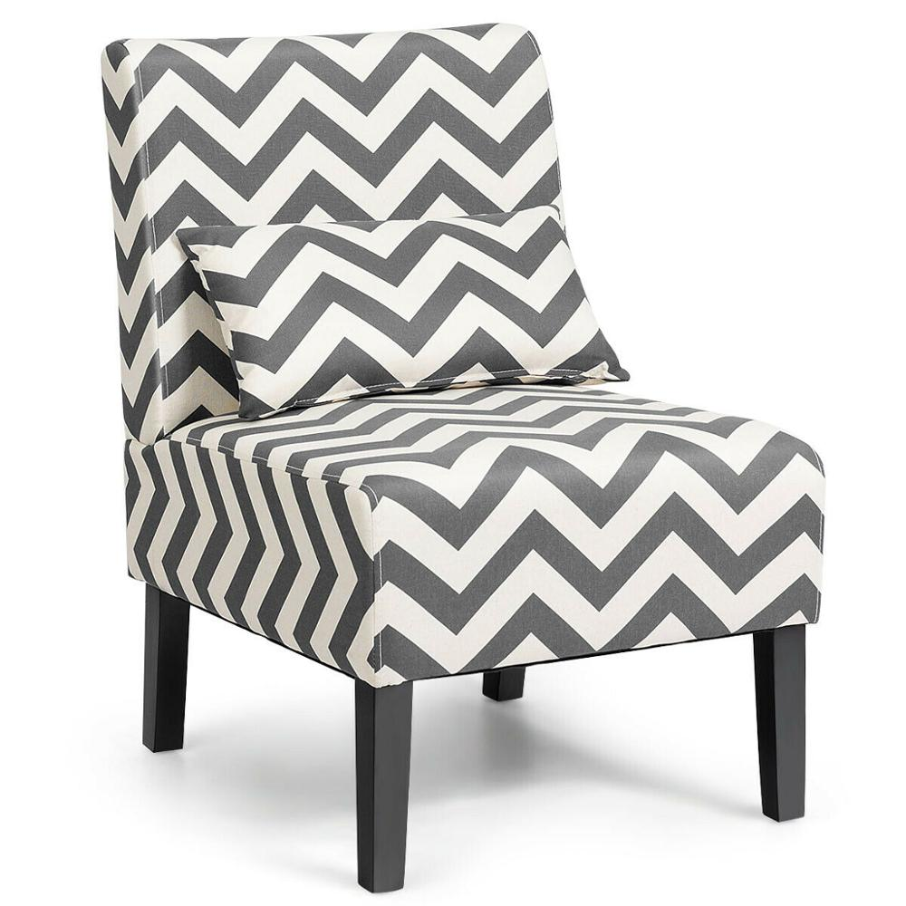 Armless Accent Chair Leisure Chair with Lumbar Pillow Gray Chevron