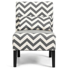 Load image into Gallery viewer, Armless Accent Chair Leisure Chair with Lumbar Pillow Gray Chevron