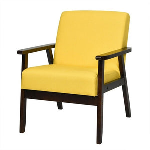 Fabric Accent Chair Armchair Solid Rubber Wood Upholstered Lounge Chair