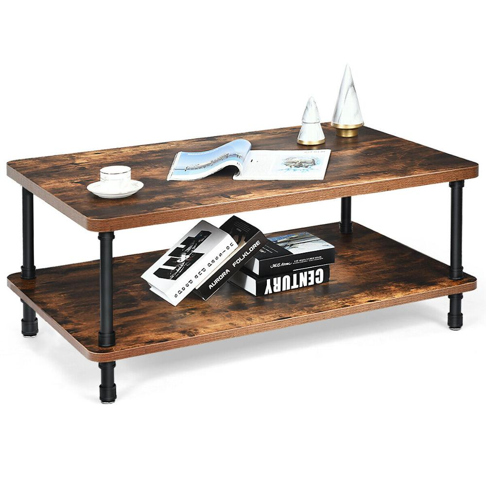 Industrial Coffee Table Rustic Accent Table Storage Shelf Living Room Furniture HW65713