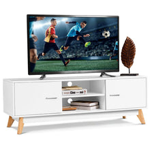 Load image into Gallery viewer, Modern TV Stand Entertainment Center Console Cabinet Stand 2 Doors Shelves White Wood Living Room Furniture HW60413