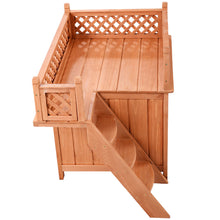 Load image into Gallery viewer, Wooden Puppy Pet Dog House Wood Room In/outdoor Raised Roof Balcony Bed Shelter