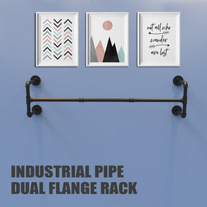 Industrial Pipe Clothes Rack, Heavy Duty Detachable Wall Mounted Black Iron Garment Bar,46 inch length Easy Assembly
