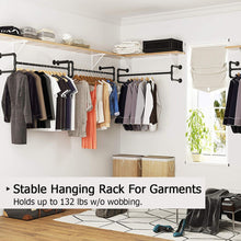 Load image into Gallery viewer, Industrial Pipe Clothes Rack, Heavy Duty Detachable Wall Mounted Black Iron Garment Bar,46 inch length Easy Assembly