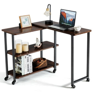 Sofa Side End Table 360° Rotating Bookcase End Table w/ Storage Shelves & Wheels HW63073