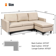 Load image into Gallery viewer, Convertible Sectional Sofa Couch Fabric L-Shaped Couch w/Reversible Chaise HW65239