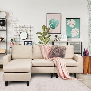 Convertible Sectional Sofa Couch Fabric L-Shaped Couch w/Reversible Chaise HW65239