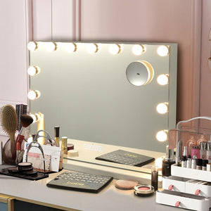 Hollywood Vanity Lighted Mirror Touch Control Magnification Bluetooth Speaker HB86948US