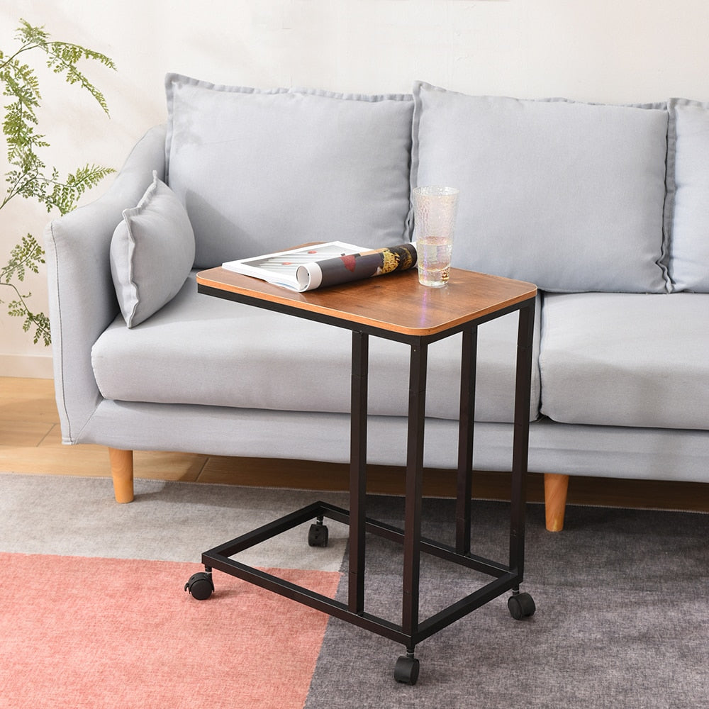 C Table Sofa Side End Tables for Living Room Couch Table Slide Under Mobile Snack Side Table for Coffee Laptop with Wheels Wood