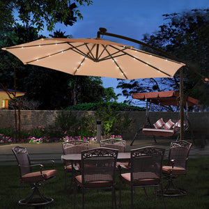 Costway 10' Hanging Solar LED Umbrella Patio Sun Shade Offset Market W/Base OP3154