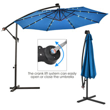Load image into Gallery viewer, Costway 10' Hanging Solar LED Umbrella Patio Sun Shade Offset Market W/Base OP3154