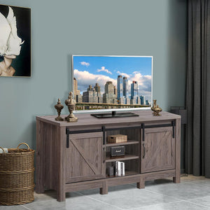 "TV Stand Sliding Barn Door Entertainment Center for TV's up to 55"" with Storage HW65216"