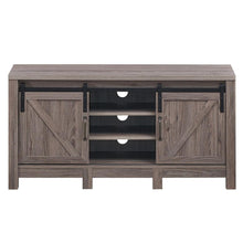 "Load image into Gallery viewer, TV Stand Sliding Barn Door Entertainment Center for TV's up to 55"" with Storage HW65216"