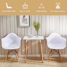 Load image into Gallery viewer, Set of 2 Mid Century Modern Molded Dining Arm Side Chair Wood Legs White New HW65432WH-2