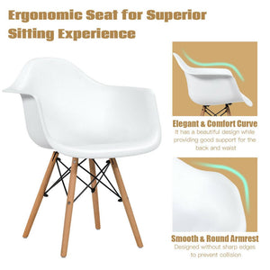 Set of 2 Mid Century Modern Molded Dining Arm Side Chair Wood Legs White New HW65432WH-2