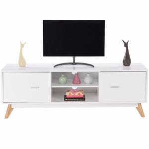Modern TV Stand Entertainment Center Console Cabinet Stand 2 Doors Shelves White Wood Living Room Furniture HW60413