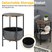 Load image into Gallery viewer, Set of 2 Industrial Round End Side Table Sofa Coffee Table w/ Storage Basket & Metal Frame 2*HW65255