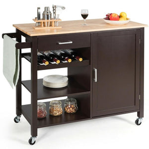 4-Tier Wood Kitchen Island Trolley Cart Storage Cabinet w/ Wine Rack & Drawer HW66112