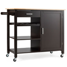 Load image into Gallery viewer, 4-Tier Wood Kitchen Island Trolley Cart Storage Cabinet w/ Wine Rack & Drawer HW66112