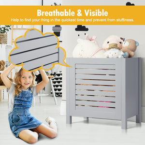 Wooden Toy Storage Organizer Kids Toy Chest W/Lid for Kindergarten Bedroom Grey HW65700GR