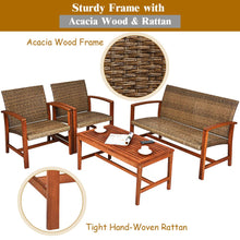 Load image into Gallery viewer, 4PCS Outdoor Patio Rattan Furniture Set Acacia Wood Frame Sofa Loveseat Garden HW66510+