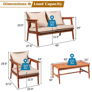 4PCS Patio Rattan Furniture Set Acacia Wood Frame Cushioned Sofa Chair Garden HW66517+