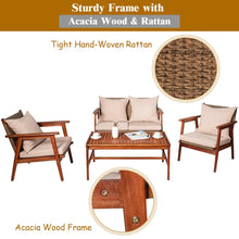 Load image into Gallery viewer, 4PCS Patio Rattan Furniture Set Acacia Wood Frame Cushioned Sofa Chair Garden HW66517+