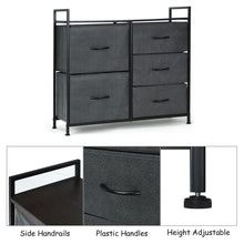 Load image into Gallery viewer, 5 Drawers Dresser Storage Unit Side Table Display Organizer Dorm Room Wood