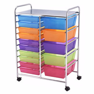 15 Drawer Rolling Storage Cart Tools Scrapbook Paper Office School Organizer NEW Home Furniture HW53825