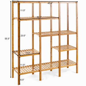 Costway Multifunctional Bamboo Shelf Storage Organizer Rack Plant Stand Display Closet