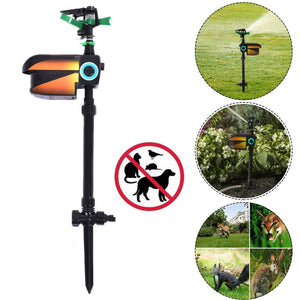 Goplus Solar Powered Motion Activated Animal Repellent Sprinkler Black New OP3627