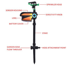 Load image into Gallery viewer, Goplus Solar Powered Motion Activated Animal Repellent Sprinkler Black New OP3627
