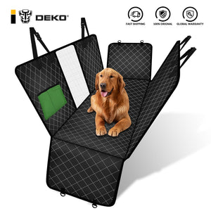 DEKO Dog Car Seat Cover Rear Back Mat Mesh Waterproof Pet Carrier Hammock Cushion Protector With Zipper And Pocket For Travel