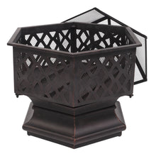 "Load image into Gallery viewer, Portable Courtyard Metal Fire Pit 22"" Hexagonal Shaped Iron Brazier Wood Burning Fire Pit Decoration for Backyard Poolside"