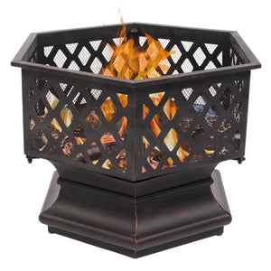 "Portable Courtyard Metal Fire Pit 22"" Hexagonal Shaped Iron Brazier Wood Burning Fire Pit Decoration for Backyard Poolside"