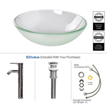 Load image into Gallery viewer, Bathroom Frosted Glass Vessel Sink Bowl Chrome Faucet Basin Pop-up Drain Combo