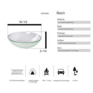 Bathroom Frosted Glass Vessel Sink Bowl Chrome Faucet Basin Pop-up Drain Combo